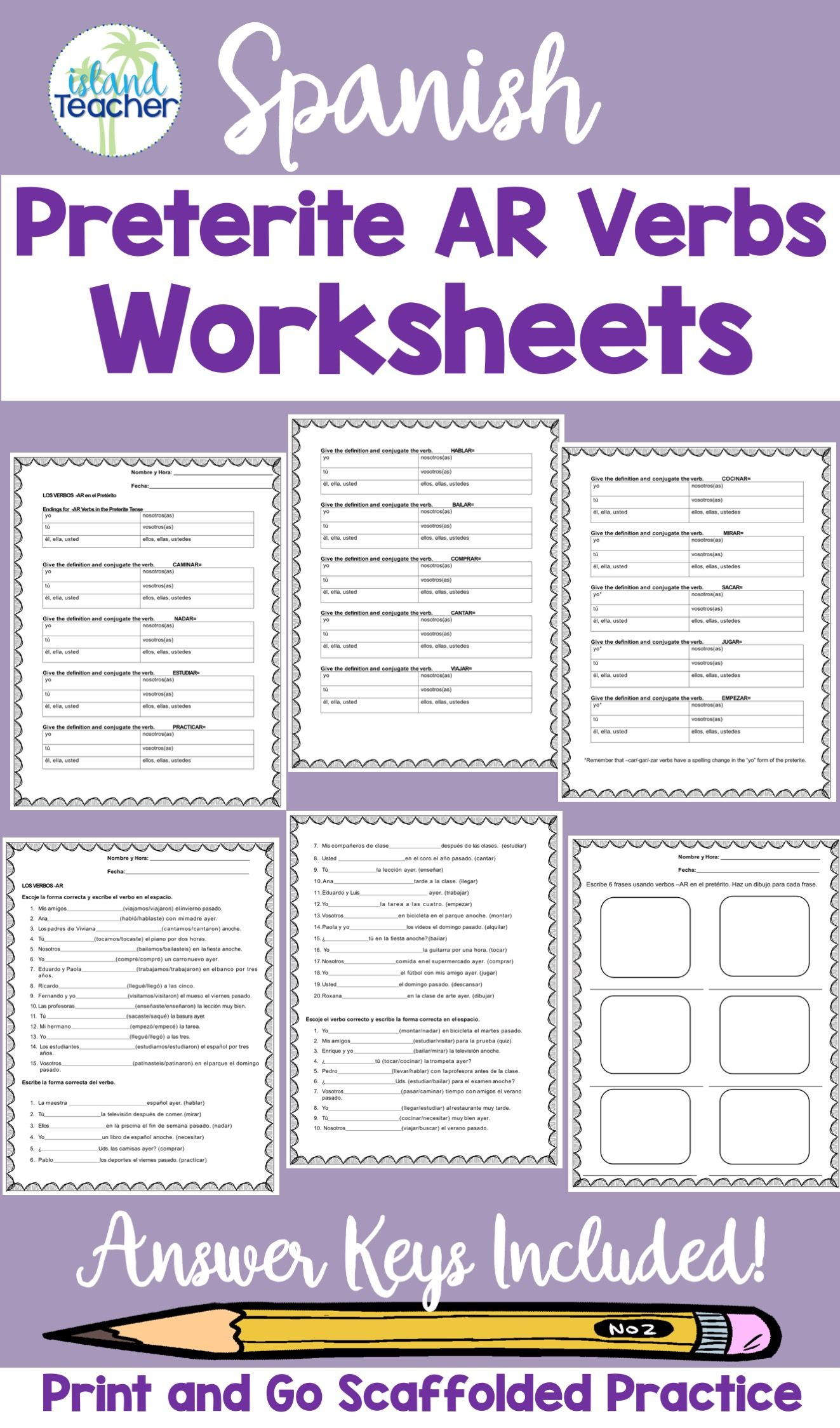 Spanish Ar Preterite Verbs Worksheets To Use With Your