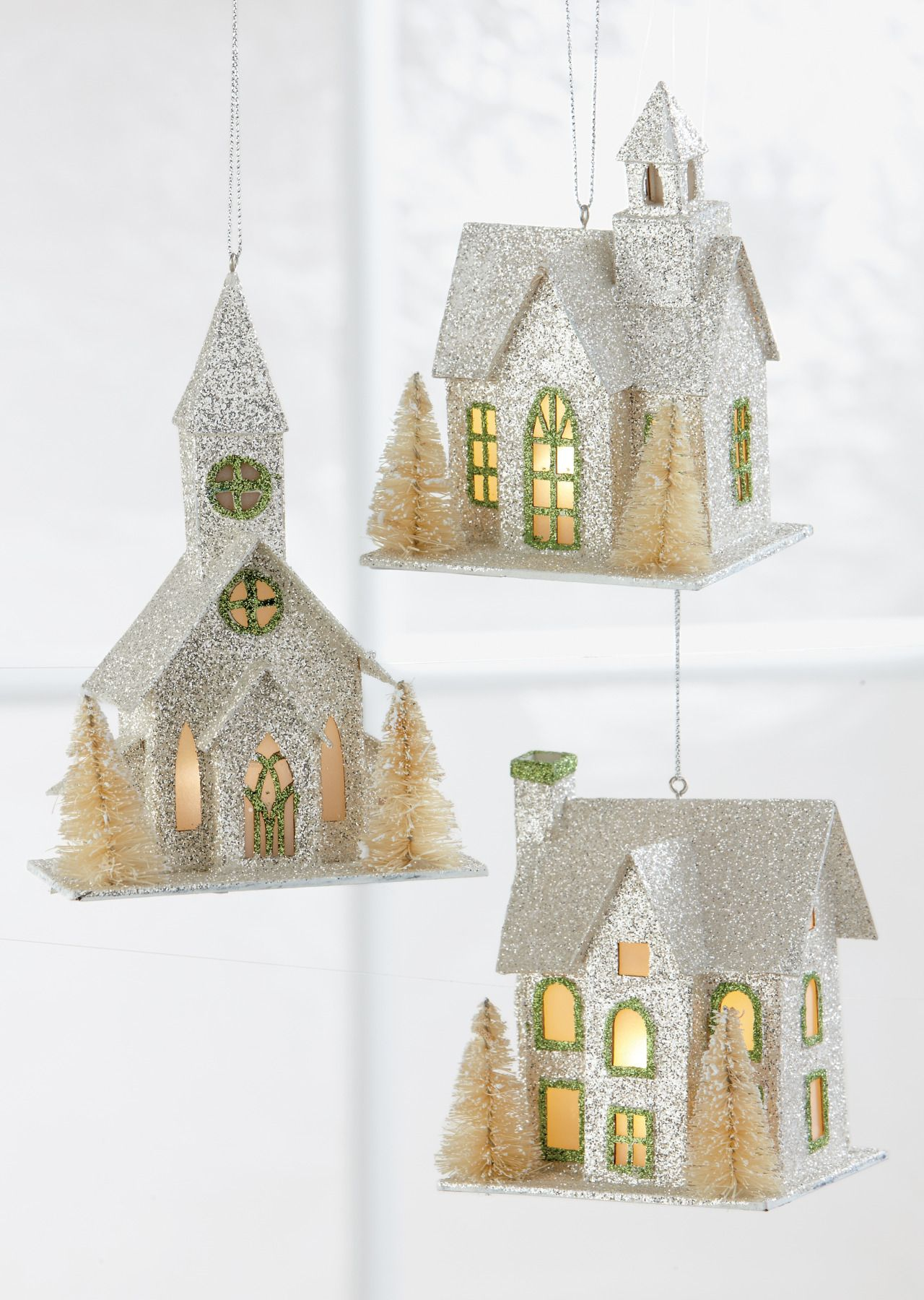 Bristle brush ornaments - Full Of Lovely Glittery Details These Light Up Ornament Feature Tiny Golden Bristle Brush