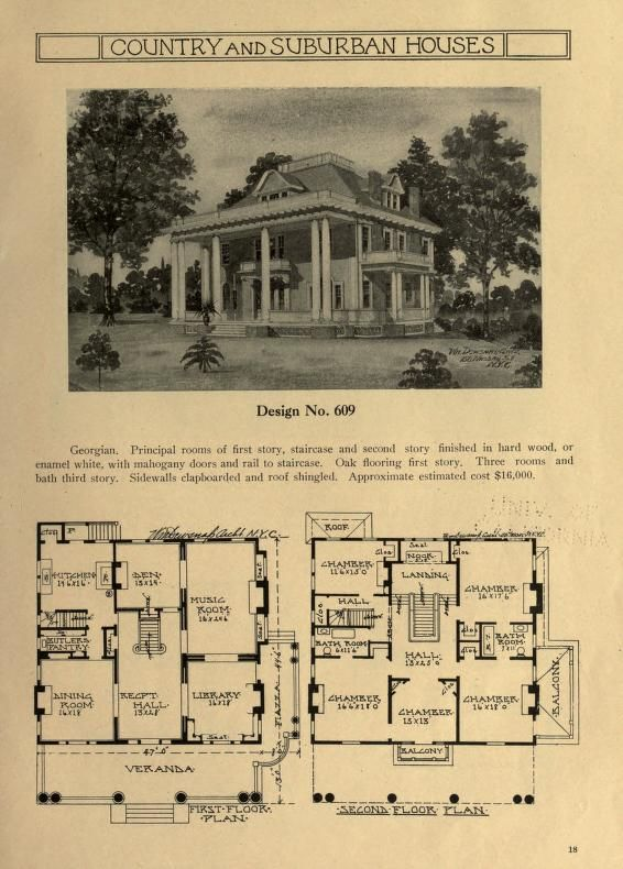 Country And Suburban Houses A Collection Of Exterior And Interior Sketches With Floor Plans For House House Floor Plans Mansion Floor Plan Vintage House Plans