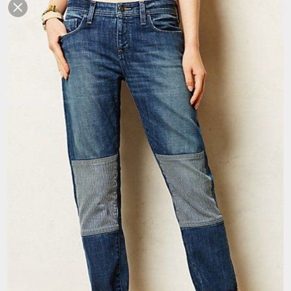 01d06bd8 Pilcro and the Letterpress Anthropologie Knee Patch Jeans Size 31 x ...