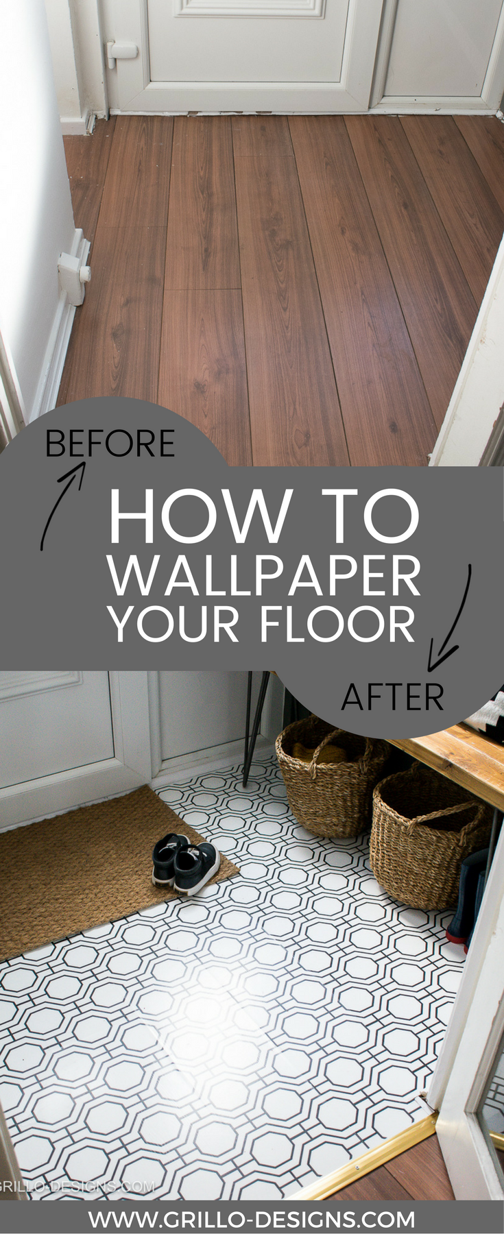 How to Wallpaper A Floor - a renter-friendly alternative! | Selfmade