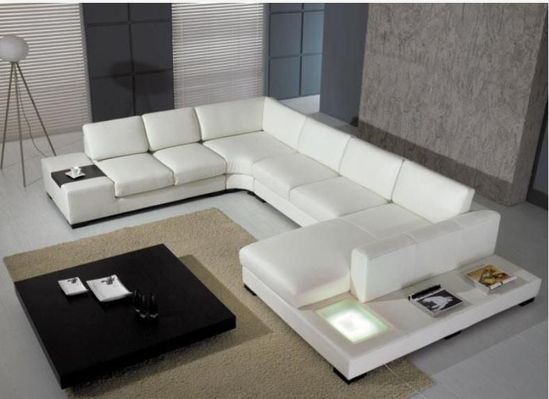 Living Room Sofa Set Corner Sofa U Shaped Couch Real Genuine Leather Sectional Sofas Muebles De Sala Moveis Para Casa With Led Leather Couch Sectional White Leather Sofas Leather Sectional Sofas