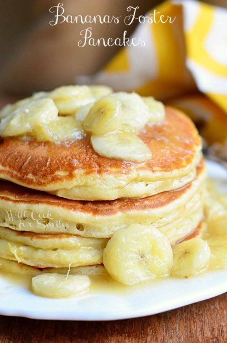 Bananas Foster Pancakes | from willcookforsmiles.com #pancakes #bananasfoster