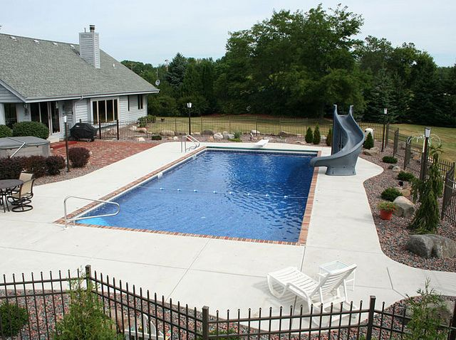 Rectangle pool with just gray cement pool ideas for Pool design services