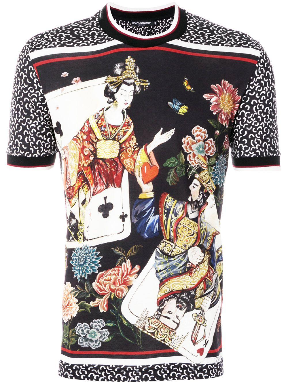 852c7d1d Dolce & Gabbana Geisha and cards-print T-shirt | T-shirts | Dolce ...