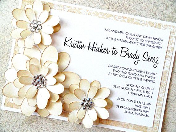 Floral Luxe Wedding Invitation Summer Wedding Champagne and White Luxury Wedding Invite (FREE SHIPPING within the US). $9.95, via Etsy.
