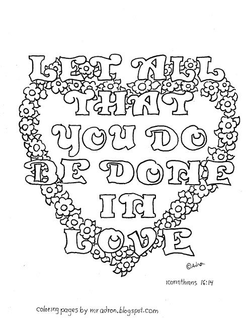 Do Everything In Love 1 Corinthians 16 14 Free Coloring Page