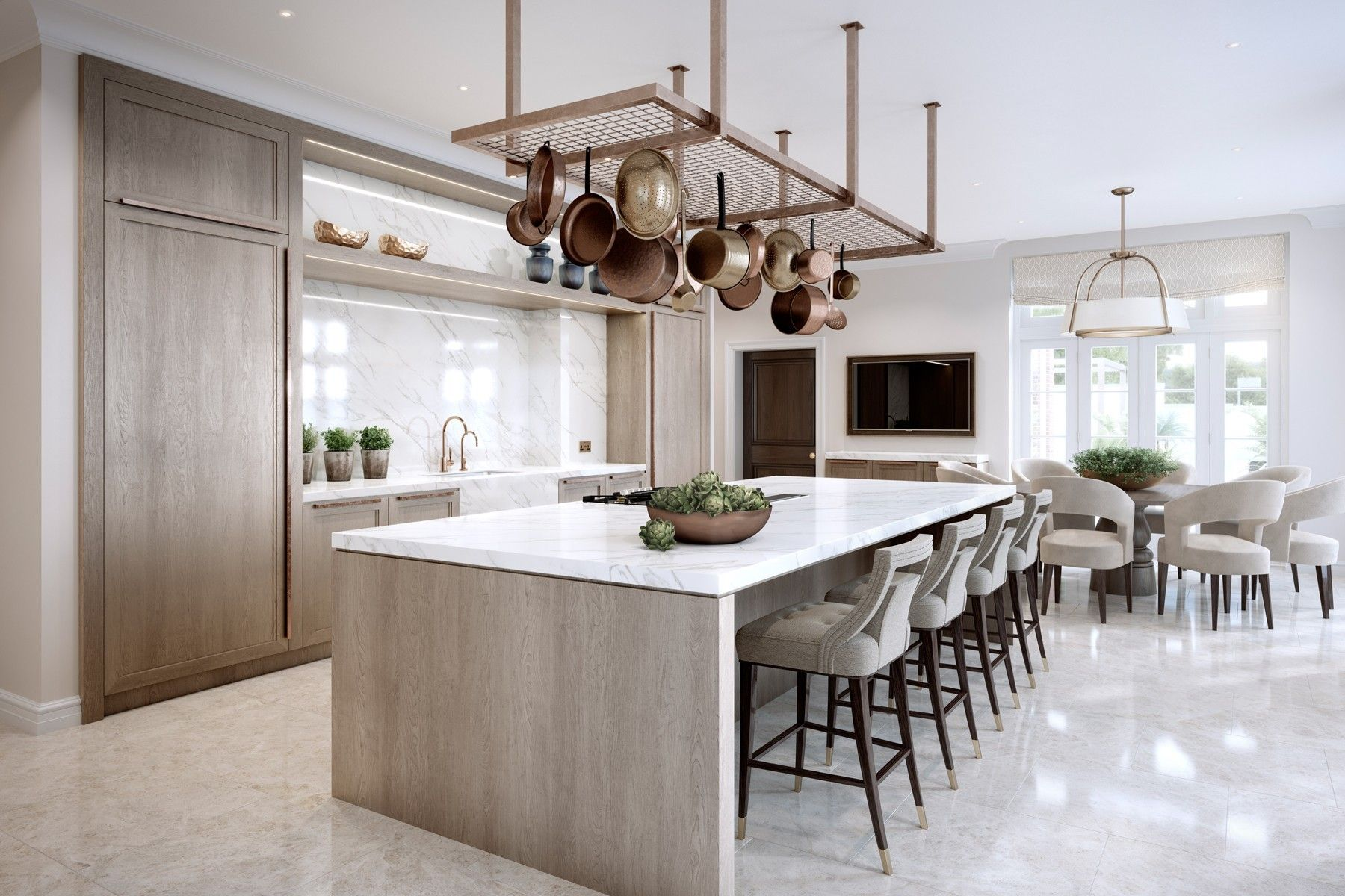 Kitchen seating ideas Surrey Family Home, Luxury Interior