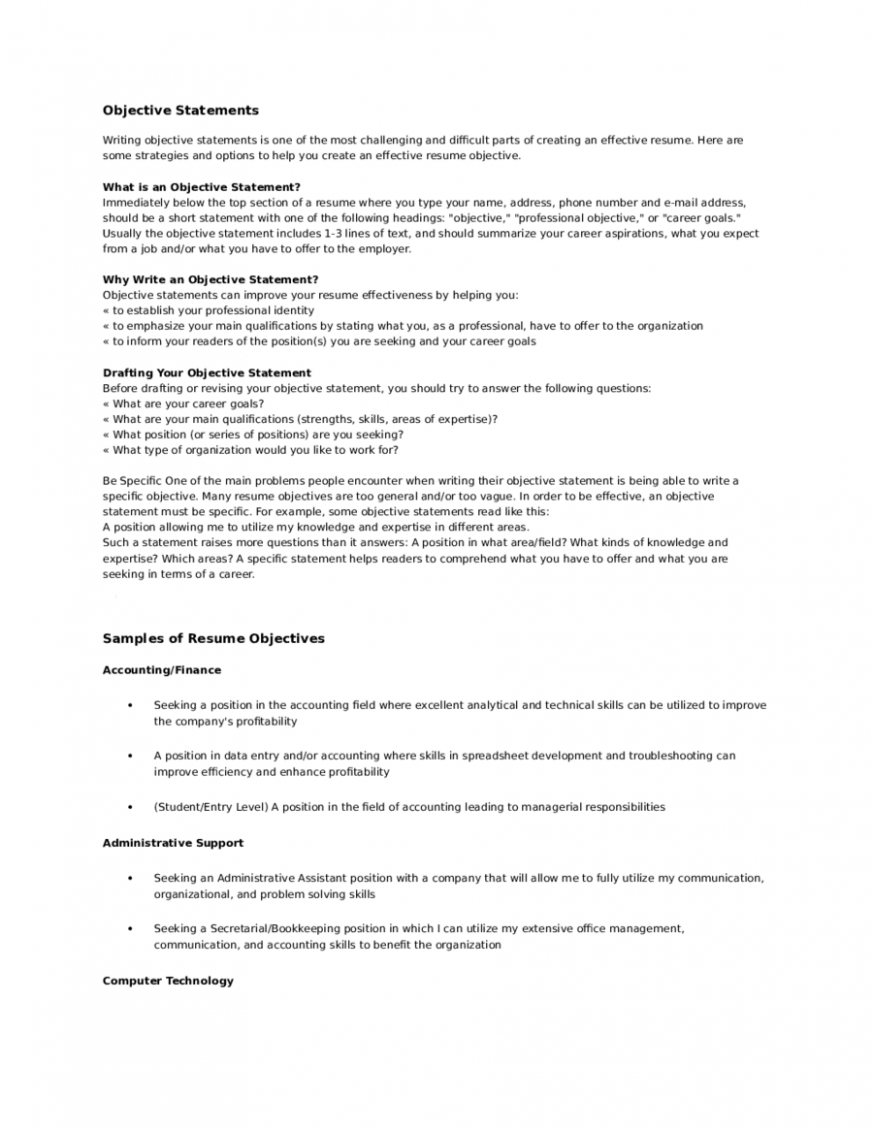 Objective Statement For Resume Examples in 23  Resume objective