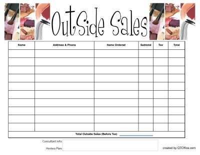 Free Printable: Tracking Outside Orders with Your Hot Hostess Plan ...