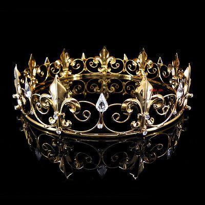 Men's Imperial Medieval Fleur De Lis Gold King Crown 4.5cm High 18cm Diameter