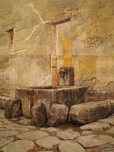 Fountain of Mercury at Pompeii (1904) - Water-colours on Pompeii by Luigi Bazzani (Bologna 1836-Rome 1927) - Naples Archaeological Museum - Exhibition until 6 January 2014 by * Karl *, via Flickr
