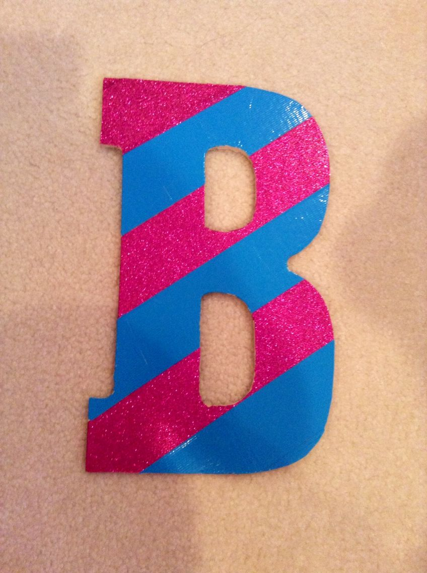 A wooden b with light blue and pink glitter duct tape duct tape a wooden b with light blue and pink glitter duct tape aloadofball Image collections