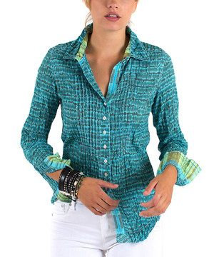 Another great find on #zulily! Cino Turquoise & Black Abstract Button-Up by Cino #zulilyfinds