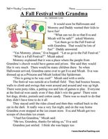 first grade reading comprehension worksheet a fall festival with grandma - Fall Worksheets For First Grade