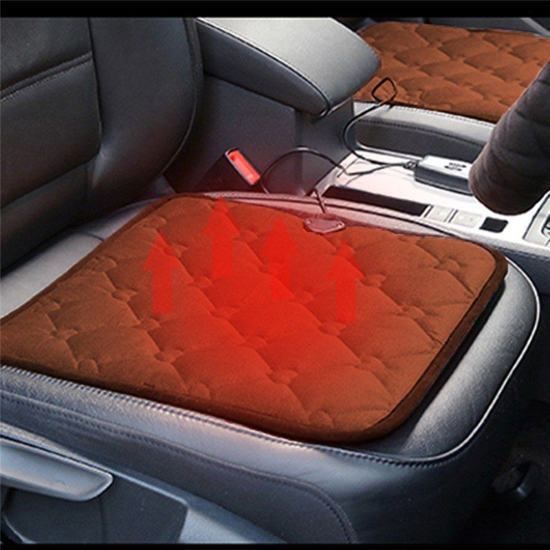 Winter Car Heated Cushion Office Chairs Electric Heated Black