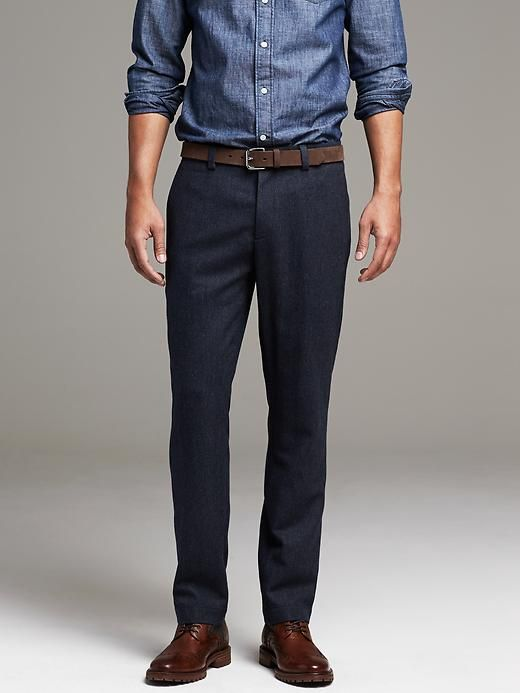 Mens Navy Wool Pant Pants Outfit Business Casual Attire