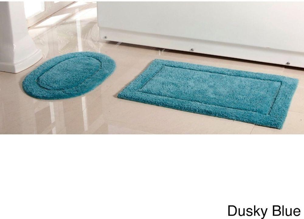 Dusky Blue Cotton Bath Rug Textured Border Non Skid Latex Backing Set Of 2