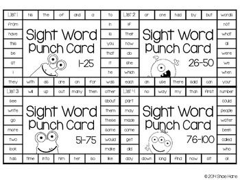 Sight Word Punch Cards - Fry Words 1-300 Practice Motivation ...