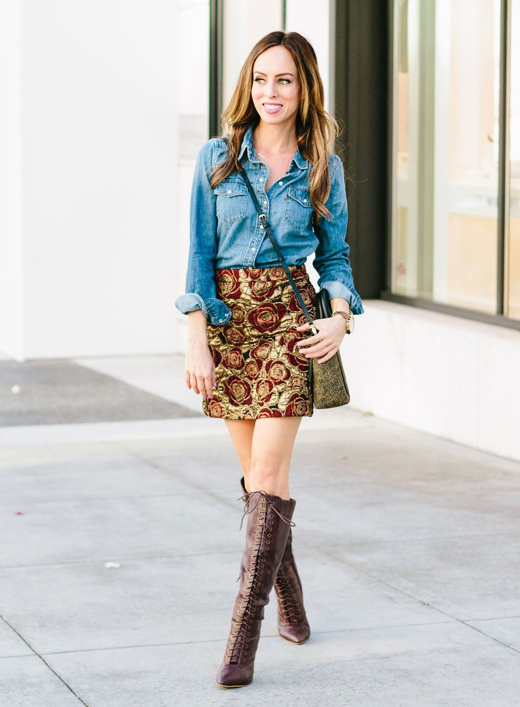Sydne Style - Los Angeles fashion blogger and People Stylewatch contributor Sydne  Summer shows how to style a brocade mini skirt with lace up boots. eeee1a34a