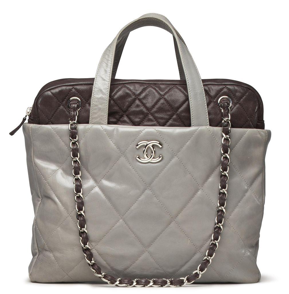 028554994dc5 A gray & metallic brown lambskin leather portobello tote bag #chanel ...