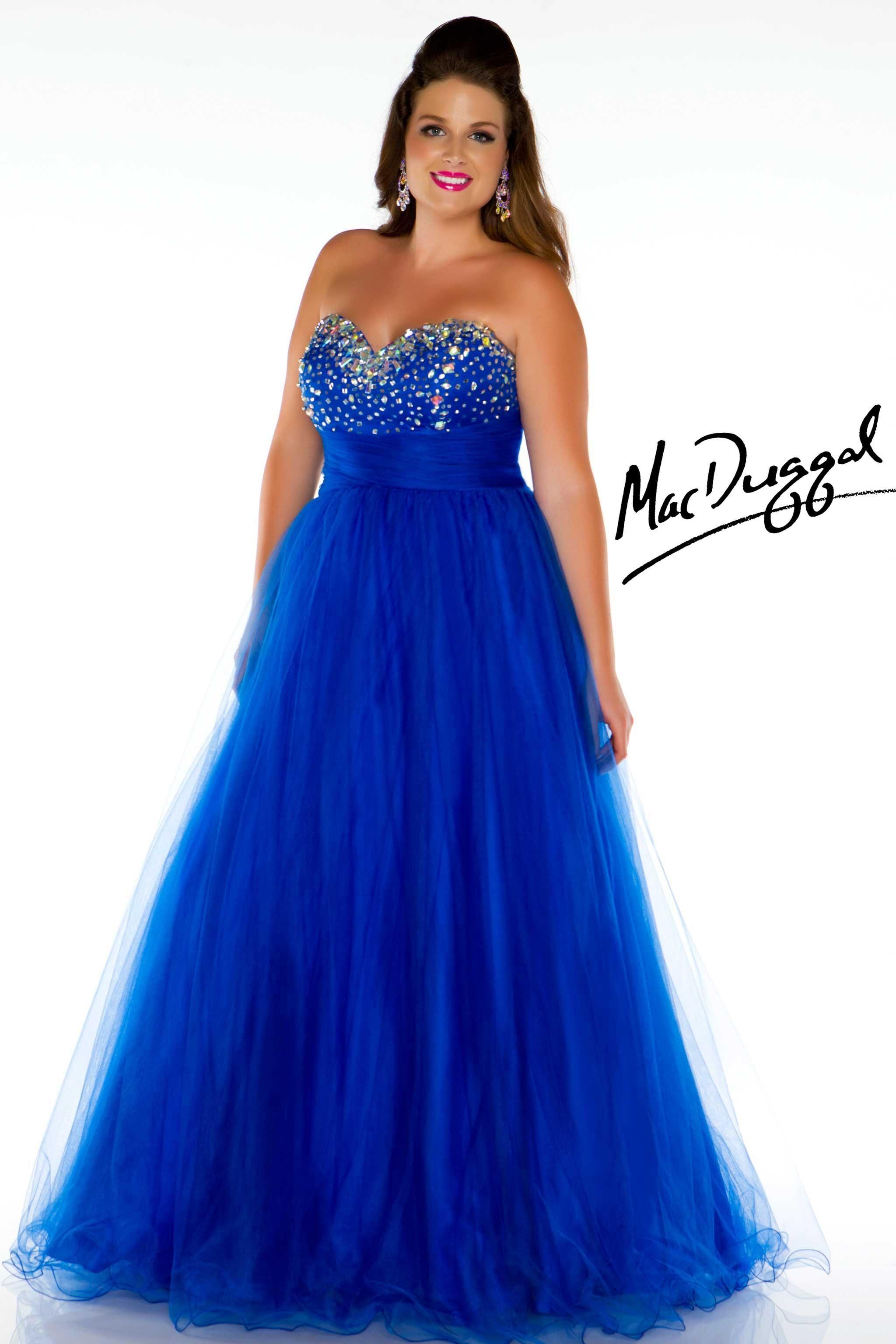Royal Blue Strapless Plus Size Prom Dress | Mac Duggal 76424K | Prom ...