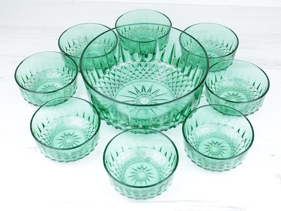Vintage Green Trifle Dish - Bowl Emerald French Arcoroc pudding ...