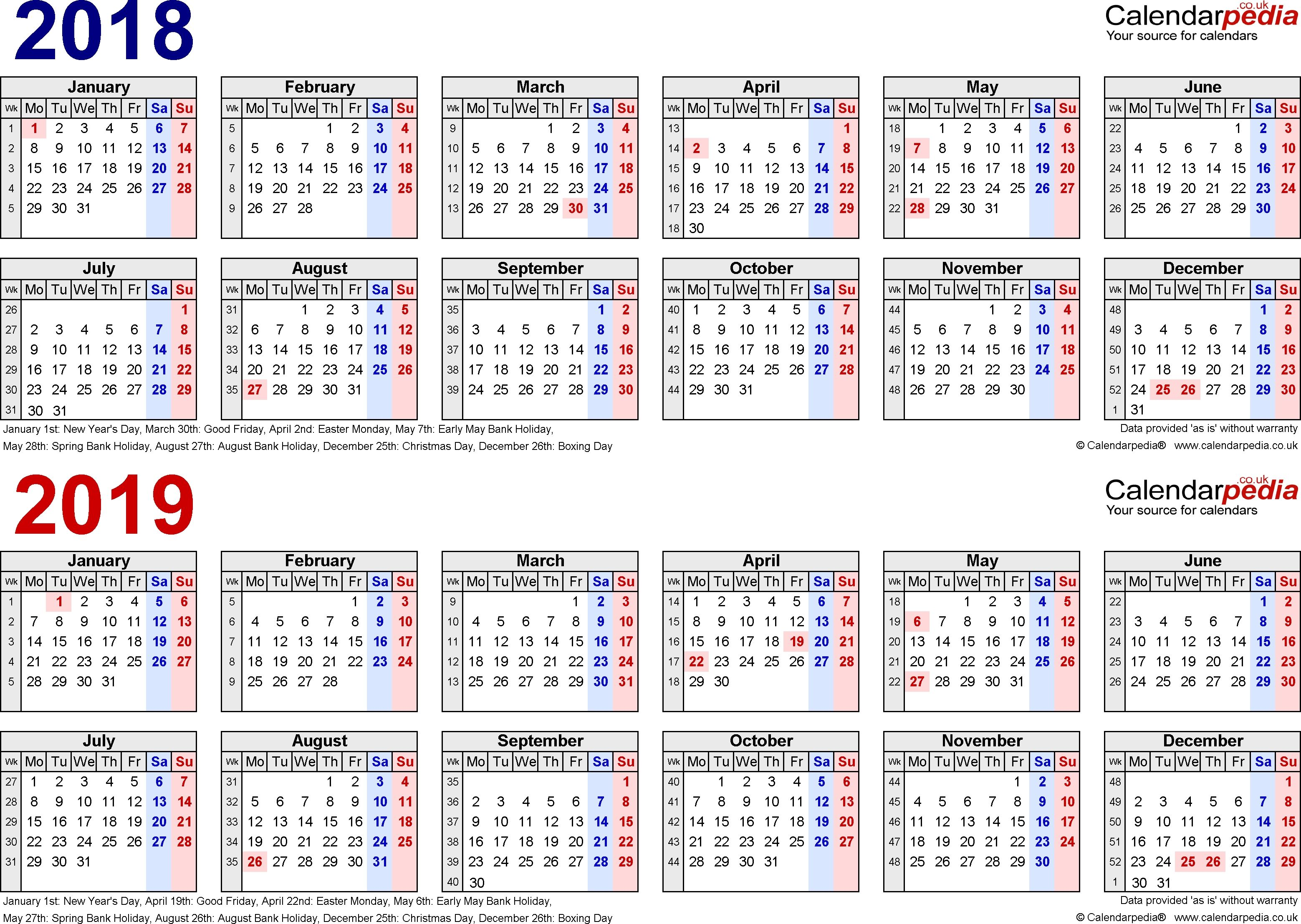 Two Year Calendars For 2018 & 2019 (Uk) For Word Free