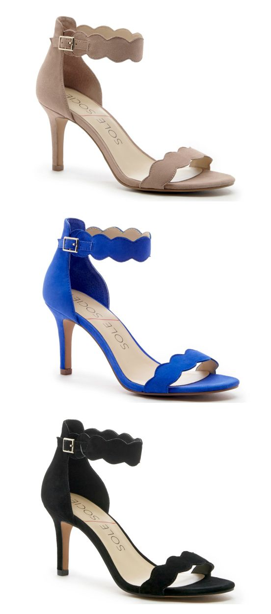 f10a8a620037f Suede mid heel sandals with scalloped straps | Shoes | Cute womens ...
