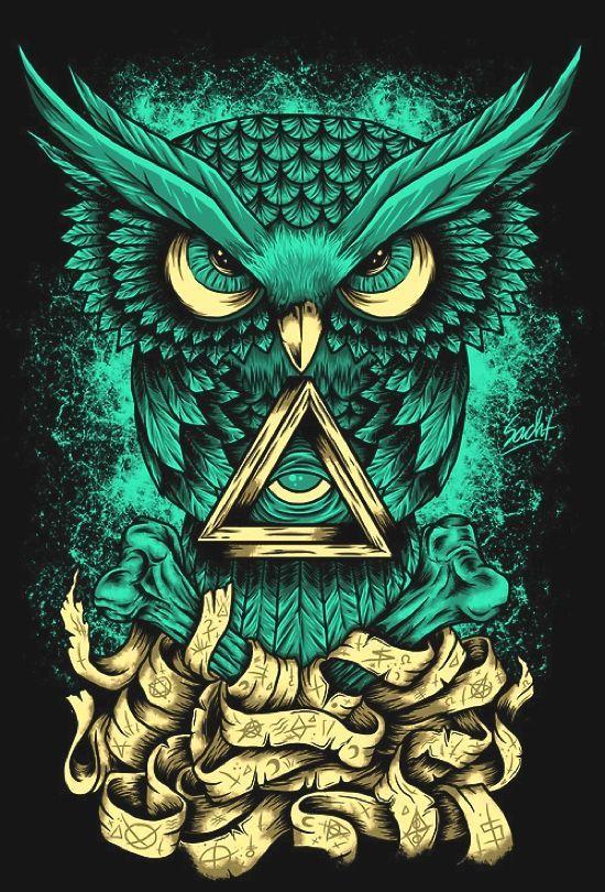 Owl Illustration Tato Burung Hantu Seni Grafis Dan Seni Tengkorak