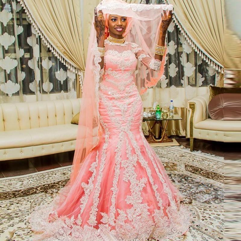 African Style Muslim Mermaid Wedding Dresses with Half Sleeve ...