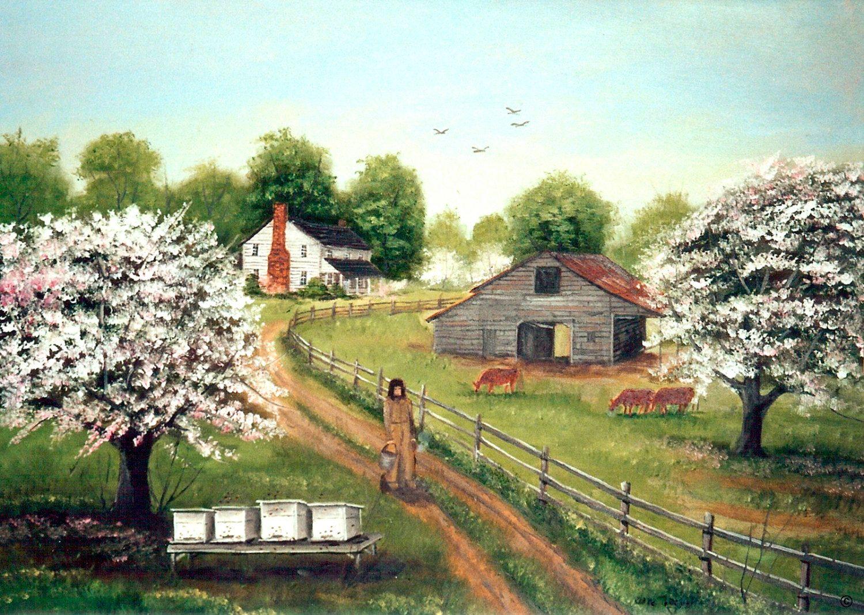 Folk Art Painting Beekeeper Fine Art America Farm House