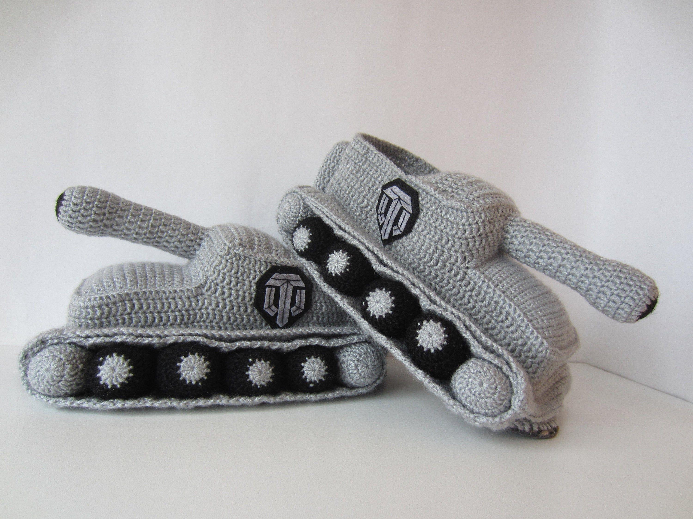Crochet slippers, gift for a man, crochet tank slipper ...