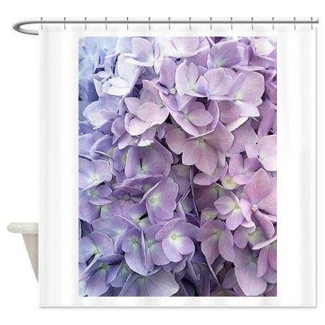 Flowers On Lavender Print Curtain Purple Hydrangea Shower
