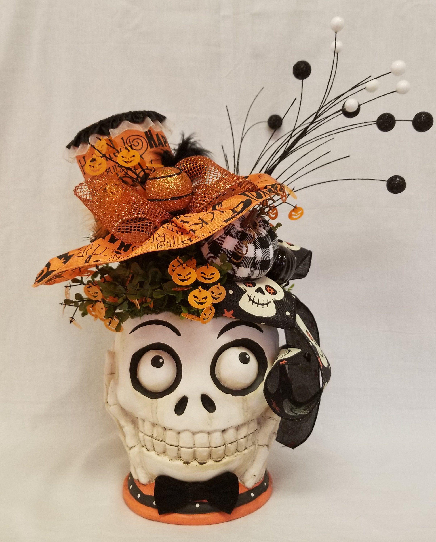 Skull Centerpiece, Halloween Centerpiece, Skull Decor