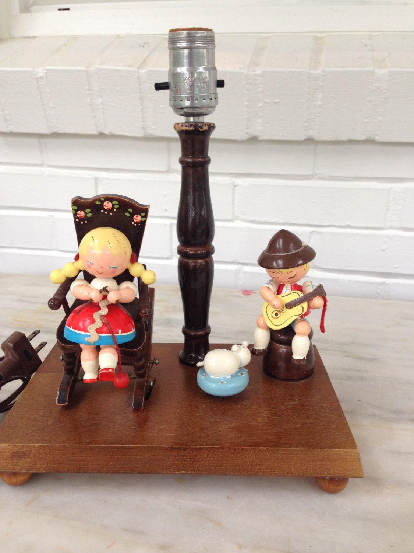 Vintage Nursery Lamp, Musical, Rock a Bye Baby, Motion