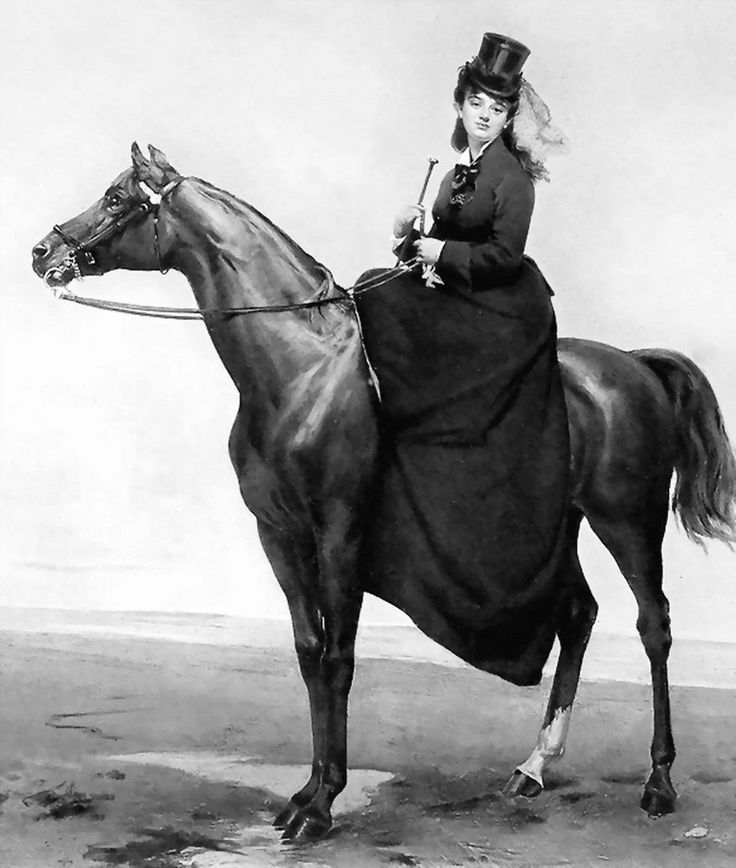 Art Print c19th Victorian Lady Side Saddle Riding Habit Hat and Dress