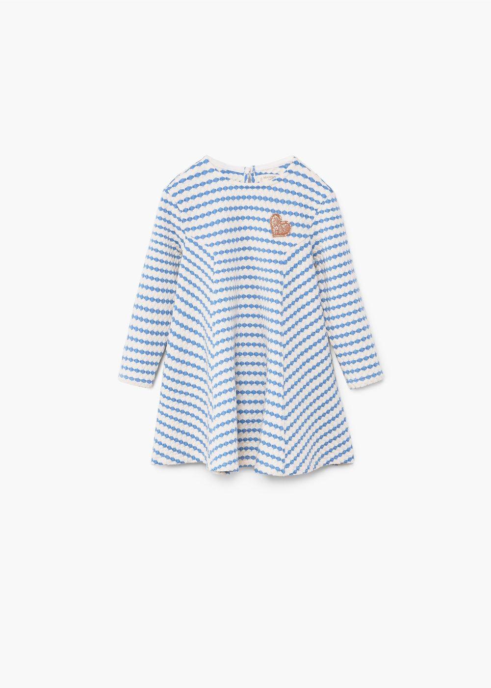 Vestido textura riscas   MANGO KIDS