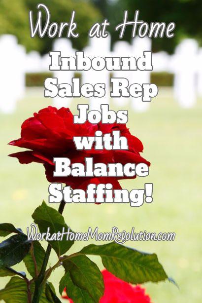 Work at Home Inbound Sales Jobs with Balance Staffing Pinterest