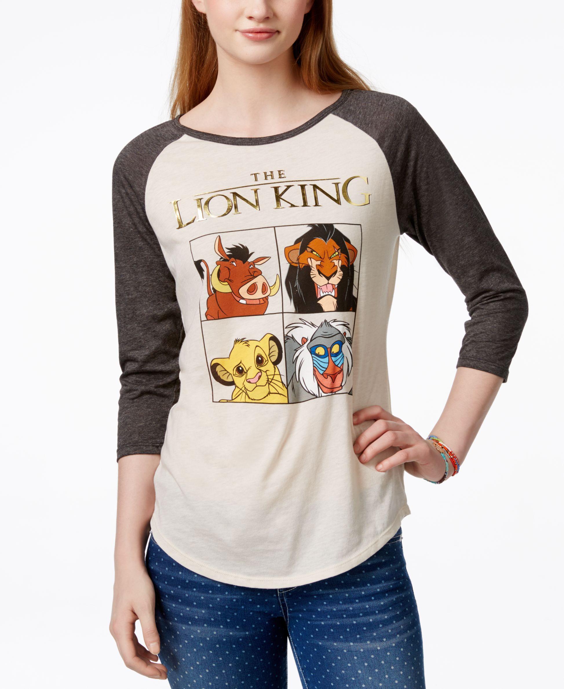 Freeze 24 7 Juniors Disney Lion King Foil Graphic Baseball T Shirt Juniors Tops Macy S Lion King Dress Womens Disney Shirts Disney Outfits [ 2378 x 1947 Pixel ]