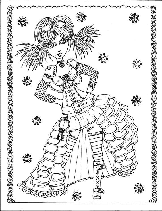 Steampunk Girls Coloring Book Page colouring adult detailed advanced ...