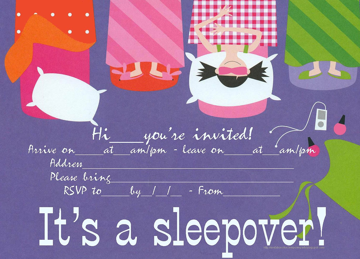 Sleepover Party Invitation That Is Free To Print Just Click On The ...