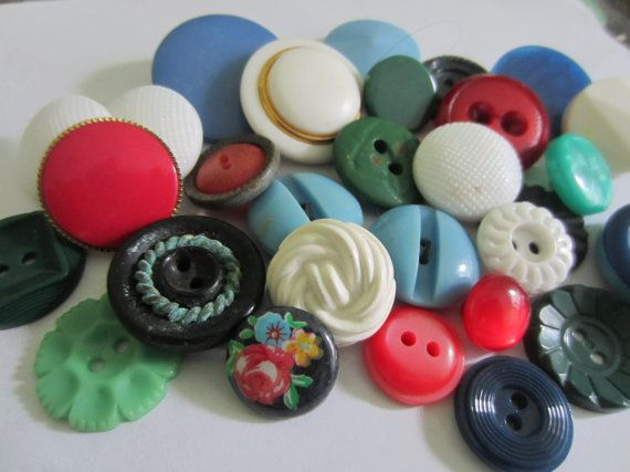vintage buttons. Cottage chic lot of green white red by JessEBees, $6.95