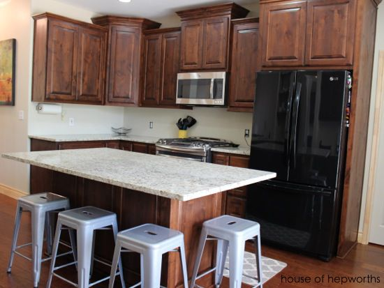 """Kitchen renovation ... island overhangs should measure 15"""" with additional support (not the builder standard at 10"""")"""