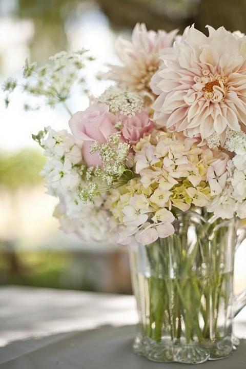 Dahlias mixed with pastel blooms via Dahlias / Wedding Style Inspiration / LANE (PS follow The LANE on instagram: the_lane)