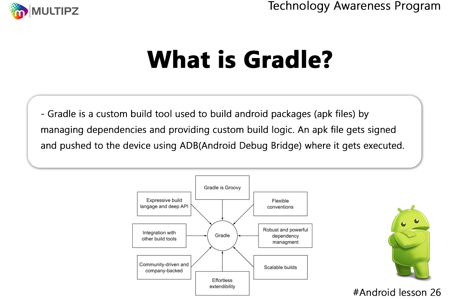 Technology Awareness Program Android Lesson 26: Gradle is an open
