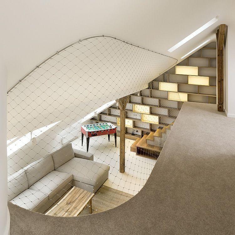 mezzanine en filet d 39 acier deco pinterest mezzanine maison et appartement contemporain. Black Bedroom Furniture Sets. Home Design Ideas