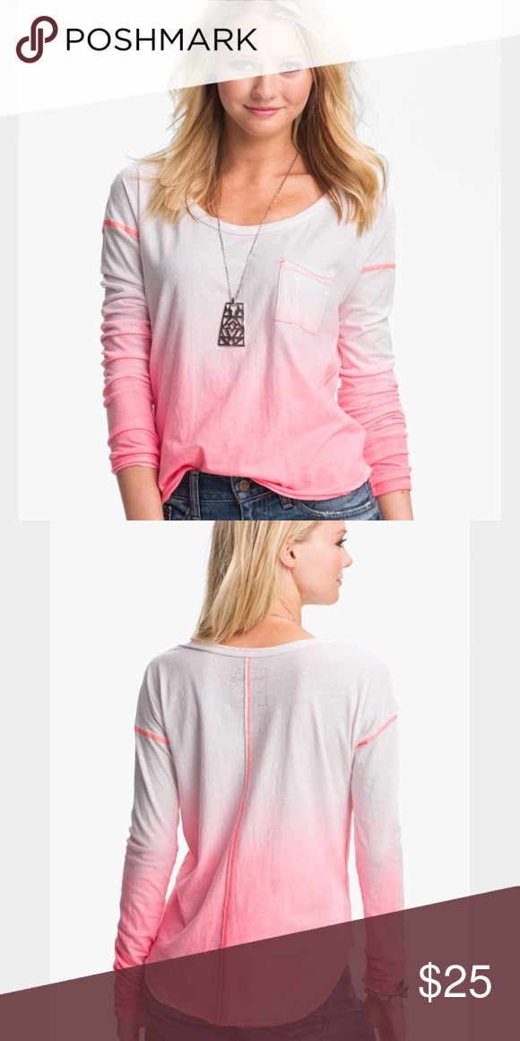 Free People Long sleeve Free People We the Free long sleeve size small-white with pink ombre. Worn a few times if that. Love it paired with jeans or yoga pants for a casual but cute look Free People Tops Tees - Long Sleeve