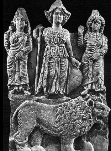 Relief with Athena, two female attendants, and a lion. Hatra/al-Hadhr. Parthian Era, 1st-2nd century AD. Limestone, h. 115 cm, w. 75 cm. The Iraq Museum - Baghdad