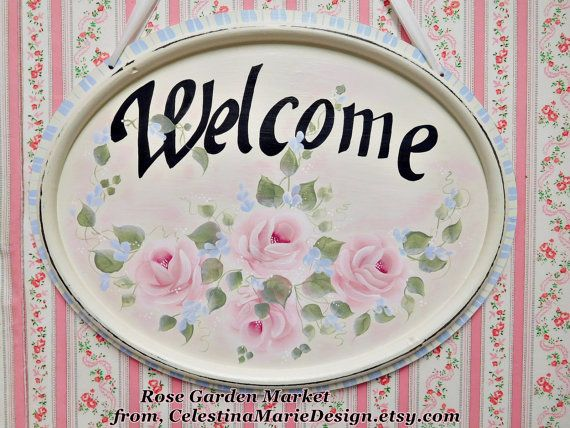 Welcome Wall Sign Oval Shape with Hand by CelestinaMarieDesign